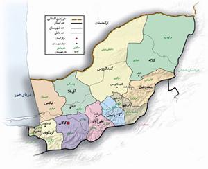 نقشه تجزیه ترکمنصحرا به شهرستانهای وابسته به مرکز