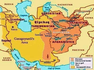 رسم توضیحی 3. محدوده مرزی مربوط به دوره حکمروایی  ترکمنان قاراقویونلی که برنگ زرد نشان داده شده است.