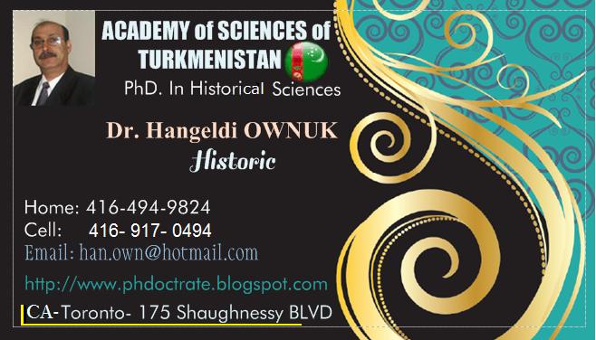 My PhD Visit Card - Dr. Hangeldi Ownuk